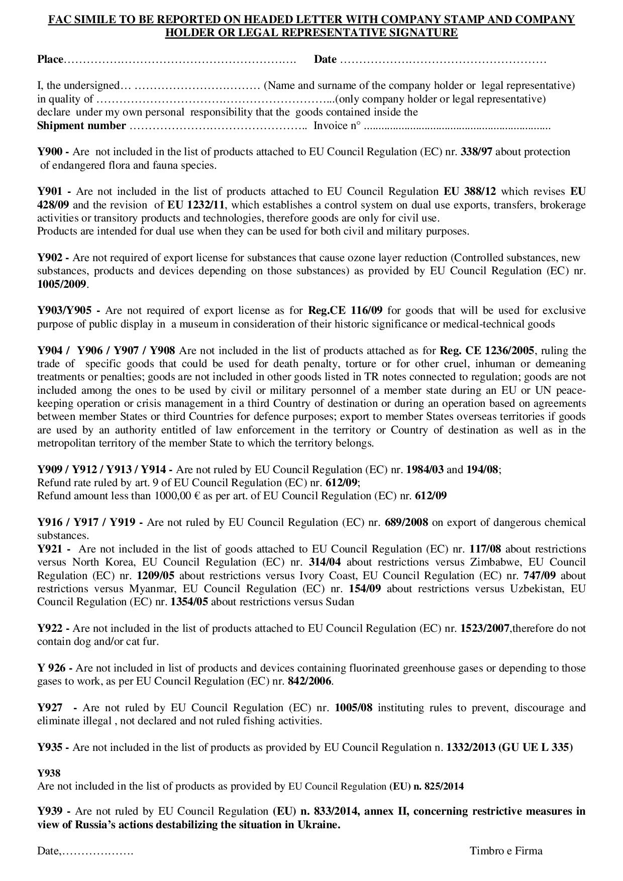 Dichiarazione libera esportazione in inglese